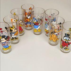 Vintage Set of 8 Disney Glasses Cups 1978 Pepsi